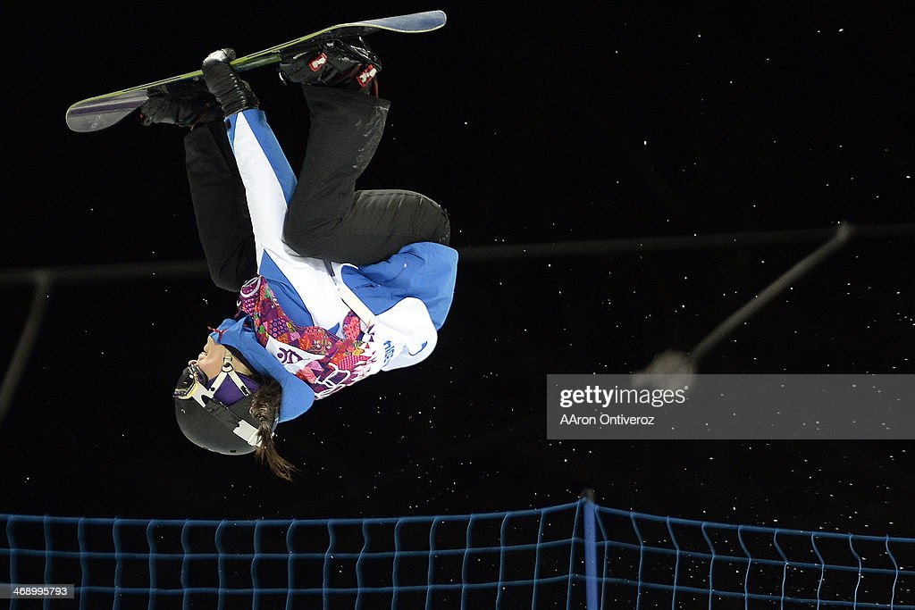 France's <a gi-track='captionPersonalityLinkClicked' href=/galleries/search?phrase=Sophie+Rodriguez&family=editorial&specificpeople=819734 ng-click='$event.stopPropagation()'>Sophie Rodriguez</a> makes her second run during a women's snowboard halfpipe final at the Rosa Khutor Extreme Park. Sochi 2014 Winter Olympics on Wednesday, February 12, 2014.