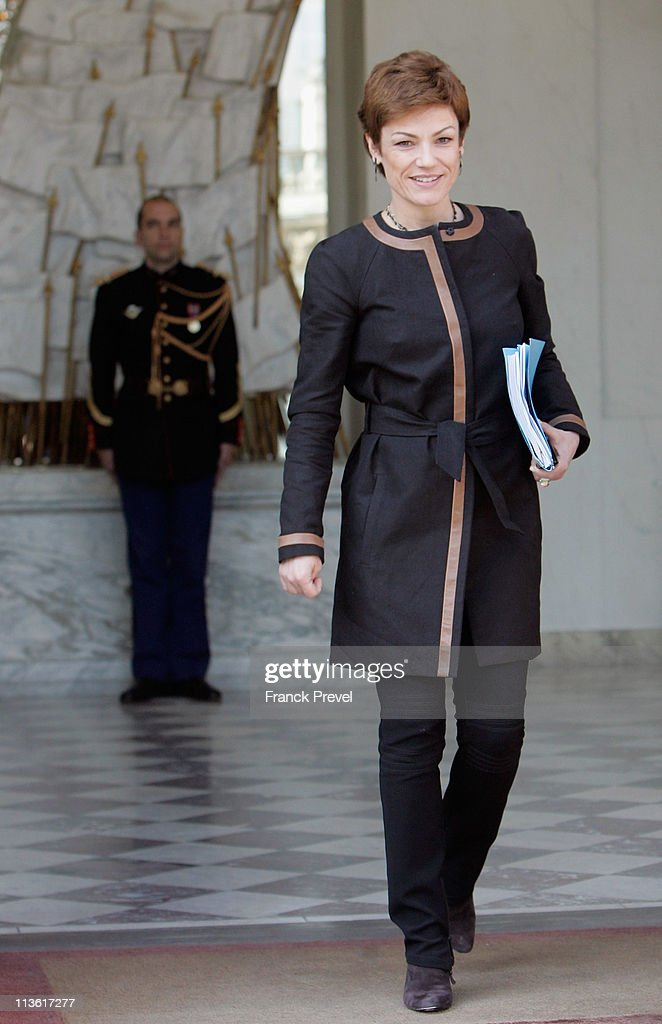 France's Sports Minister <a gi-track='captionPersonalityLinkClicked' href=/galleries/search?phrase=Chantal+Jouanno&family=editorial&specificpeople=5673060 ng-click='$event.stopPropagation()'>Chantal Jouanno</a> leaves the weekly cabinet meeting at Elysee Palace on May 4, 2011 in Paris, France. After the death of al Qaeda chief Osama bin Laden, France has increased security measures throughout the country.