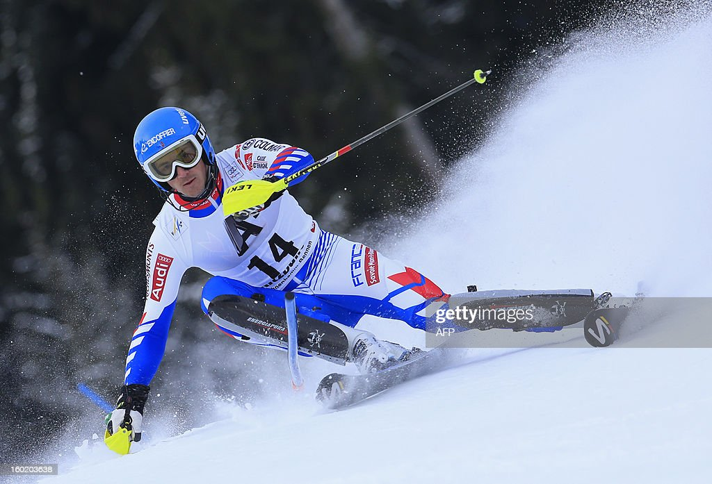 France's Steve Missillier competes during the first round of the FIS World Cup men's slalom race on January 27, 2013 in Kitzbuehel, Austrian Alps.