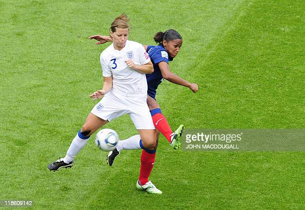 France's striker MarieLaure Delie and England's defender Rachel Unitt vie for the ball during the quarterfinal match of the FIFA women's football...