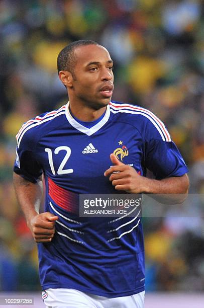 France's striker Thierry Henry runs during the Group A first round 2010 World Cup football match France vs South Africa on June 22 2010 at Free State...
