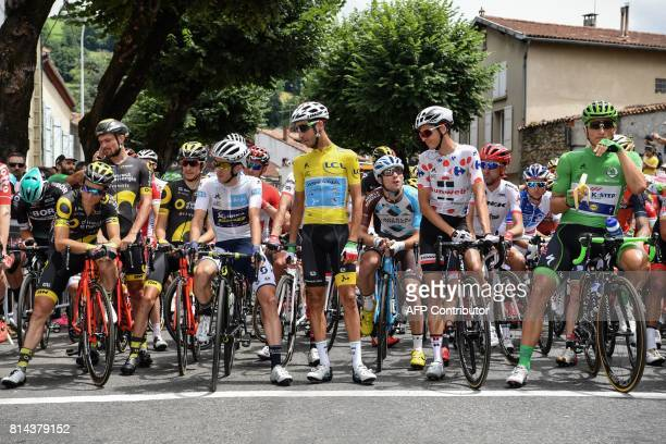France's Sylvain Chavanel Great Britain's Simon Yates wearing the best young's white jersey Italy's Fabio Aru wearing the overall leader's yellow...