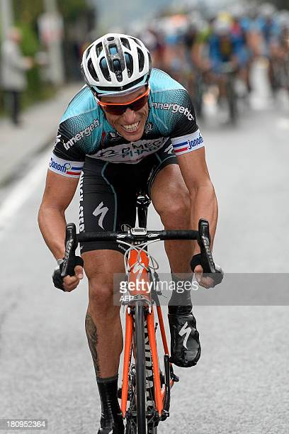 France's Sylvain Chavanel of Team Omega Pharma Quick Step rides during the Grand Prix de Wallonie one day cycling race 203 km from Chaudfontaine to...