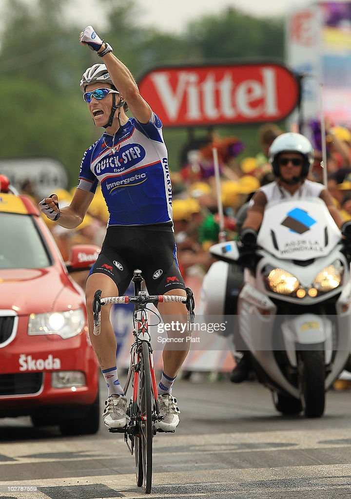 France's <a gi-track='captionPersonalityLinkClicked' href=/galleries/search?phrase=Sylvain+Chavanel&family=editorial&specificpeople=547829 ng-click='$event.stopPropagation()'>Sylvain Chavanel</a> with team Quick Step wins the 165.5km stage seven of the Tour de France July 10, 2010 in Station Des Rousses, France. The route, which began in Tournus, finished in the Jura mountains and featured the first category two climbs of the Tour. Chavanel has also recaptured the yellow jersey. The iconic bicycle race will include a total of 20 stages and will cover 3,642km before concluding in Paris on July 25.