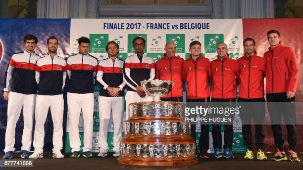 France's team PierreHugues Herbert Richard Gasquet JoWilfried Tsonga Lucas Pouille and captain Yannick Noah and Belgium's team captain Johan Van...