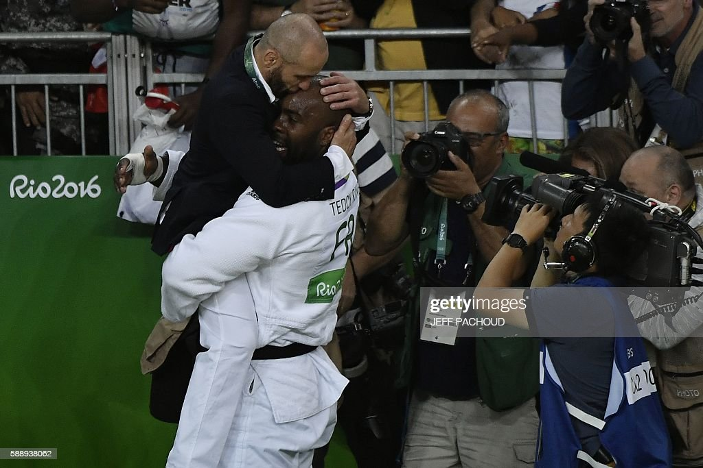 TOPSHOT France's Teddy Riner celebrates defeating Japan's Hisayoshi Harasawa during the men's judo 100kg final gold medal contest at the Rio 2016...