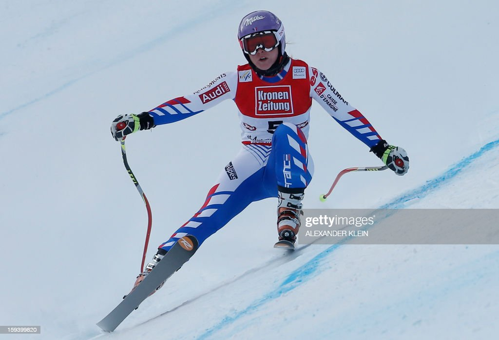 France's Tessa Worley competes during the women's World Cup Super G, on January 13, 2013 in St Anton am Arlberg, Austria. Slovenia's Tina Maze won ahead of Austria's Anna Fenninger and Switzerland's Fabienne Suter.