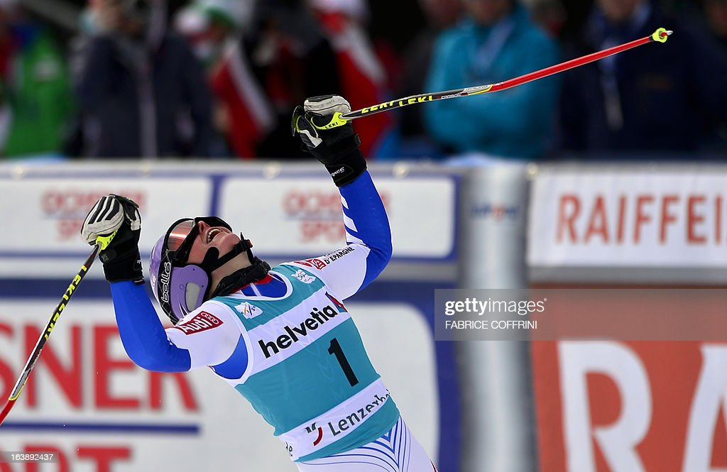 France's Tessa Worley reacts after finishing second of the season's last women Giant Slalom race at the Alpine ski World Cup finals on March 17, 2013 in Lenzerheide.