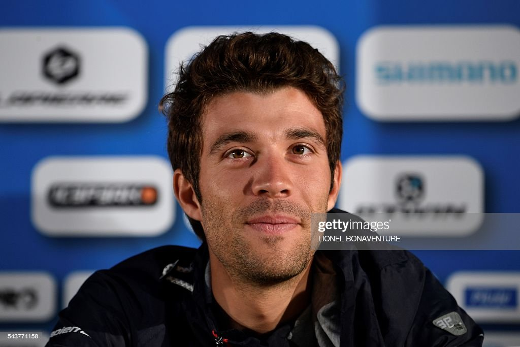 France's Thibaut Pinot takes part in a press conference of the France's FDJ cycling team at the press center in Saint-Lo, Normandy, on July 30, 2016, two days before the start of the 103rd edition of the Tour de France cycling race. The 2016 Tour de France will start on July 2 in the streets of Le Mont-Saint-Michel and ends on July 24, 2016 down the Champs-Elysees in Paris. The 2016 Tour de France will start on July 2 in the streets of Le Mont-Saint-Michel and ends on July 24, 2016 down the Champs-Elysees in Paris. / AFP / LIONEL