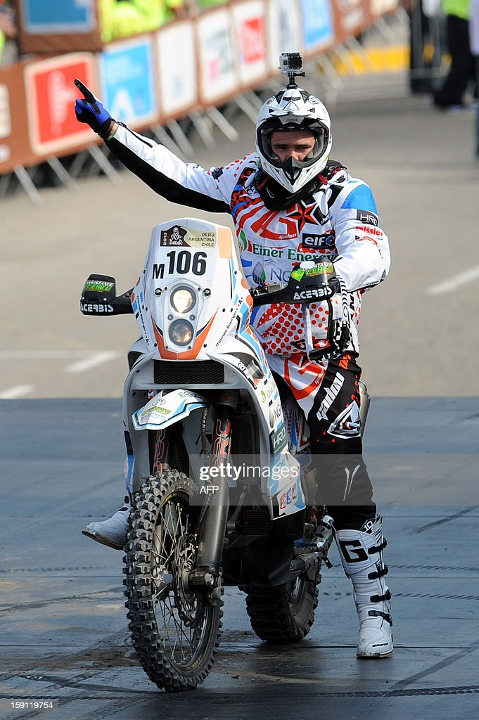 France's Thomas Bourgin on KTM is pictured during the 2013 Dakar Rally departure ceremony in Lima on January 5, 2013. Bourgin dies on January 11, 2013, before the start of the Stage 7, Calama - Salta, according to organisers.