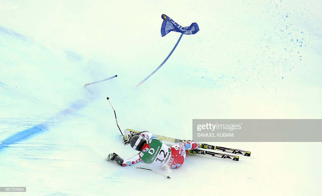 France's Thomas Fanara falls during the first run of the men's Giant slalom at the 2013 Ski World Championships in Schladming, Austria on February 15, 2013.