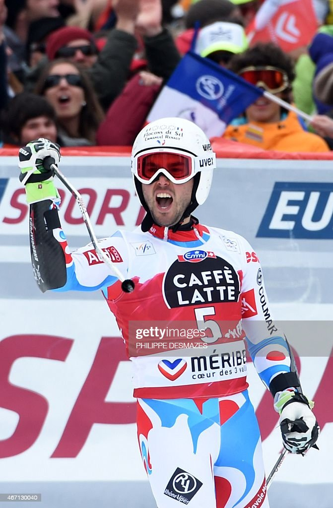 France's <a gi-track='captionPersonalityLinkClicked' href=/galleries/search?phrase=Thomas+Fanara&family=editorial&specificpeople=803965 ng-click='$event.stopPropagation()'>Thomas Fanara</a> reacts after taking part in the second run of the Men's Giant Slalom race at the FIS Alpine Skiing World Cup finals in Meribel on March 21, 2015.
