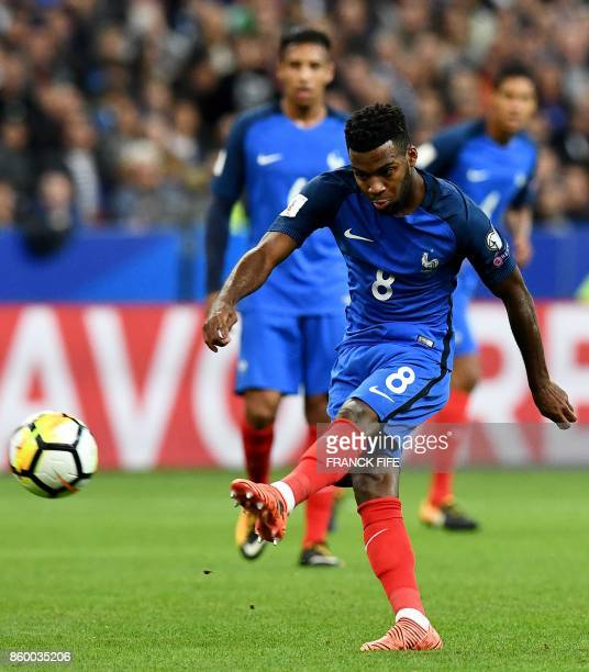 France's Thomas Lemar shoots during the FIFA World Cup 2018 qualification football match between France and Belarus at the Stade de France in...