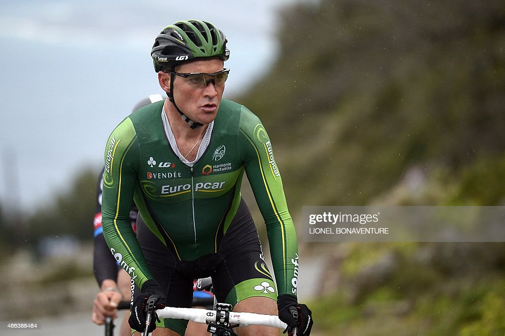 France's Thomas Voeckler competes during the 95 km individual timetrial and last stage of the 73rd edition of the ParisNice cycling race in Nice...