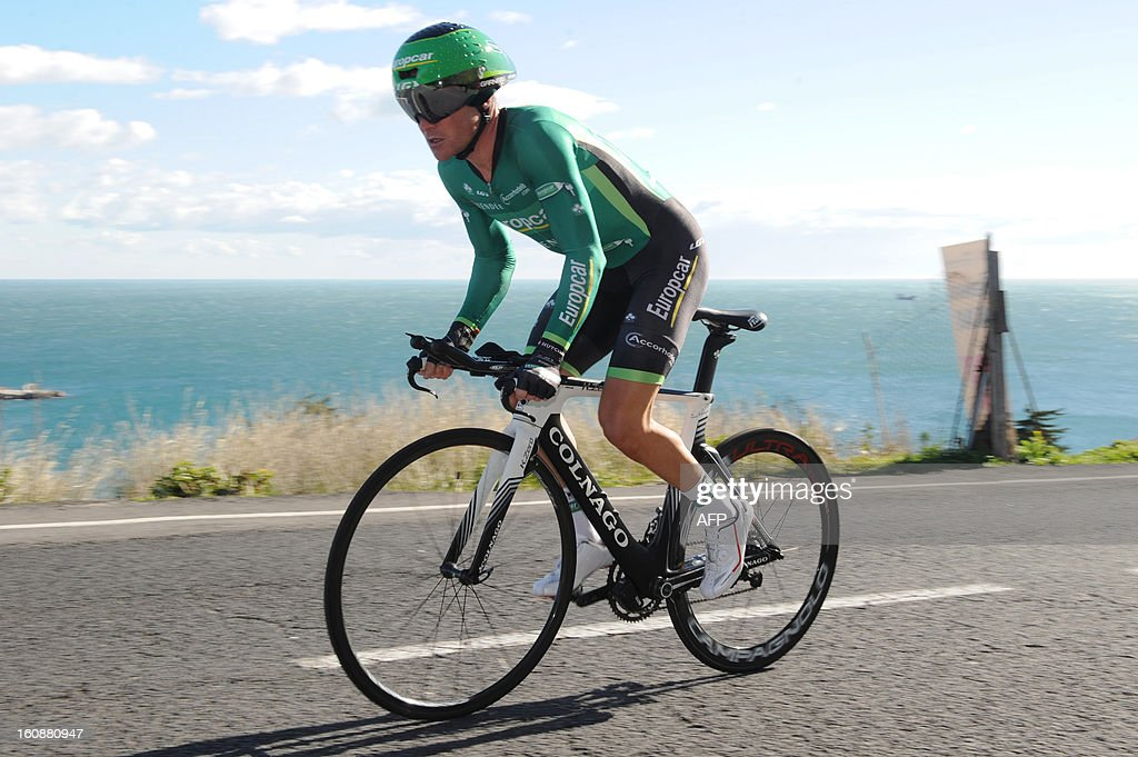 France's Thomas Voeckler competes during the second stage, a 24km individual time trial, of the 40th edition of the Tour Mediterraneen cycling race from Cap d'Agde to Sete on February 7, 2013 in Sete, southern France. Netherland's Lars Boom won the stage and leads the race. AFP PHOTO / SYLVAIN THOMAS