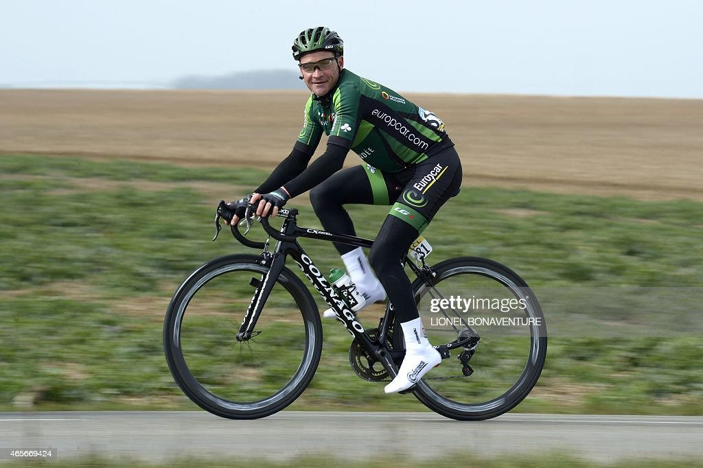 France's Thomas Voeckler leads a breakaway during the first stage of the 73rd edition of the ParisNice cycling race between SaintRemylesChevreuse and...