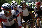 France's Thomas Voeckler rides in a breakaway during the 160 km fifteenth stage of the 103rd edition of the Tour de France cycling race on July 17...