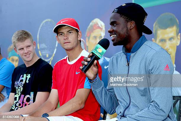 Frances Tiafoe addresses the audience while participating in the ATP #NextGen player panel with Kyle Edmund of Great Britain and Jared Donaldson and...