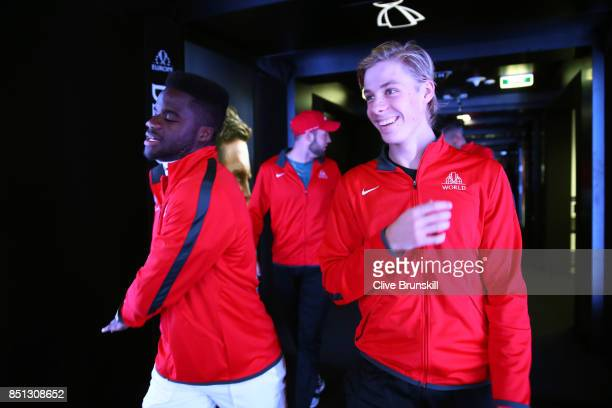 Frances Tiafoe and Denis Shapovalov of Team World enters the arena on the first day of the Laver Cup on September 22 2017 in Prague Czech Republic...