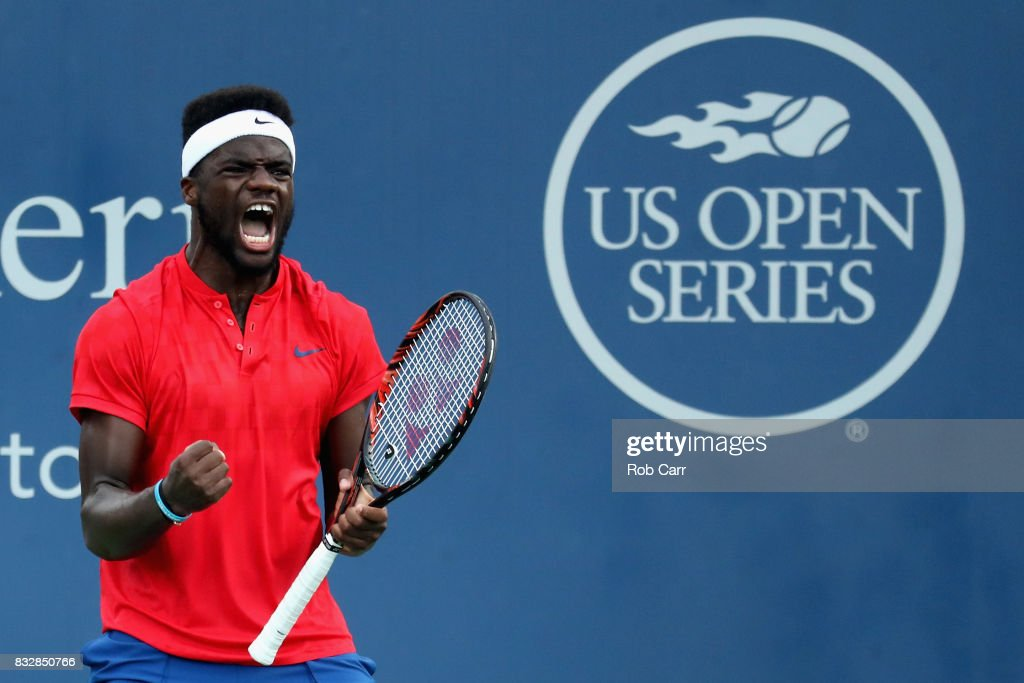 Frances Tiafoe celebrates match point after defeating Alexander Zverev of Germany during Day 5 of the Western & Southern Open at the Linder Family Tennis Center on August 16, 2017 in Mason, Ohio.