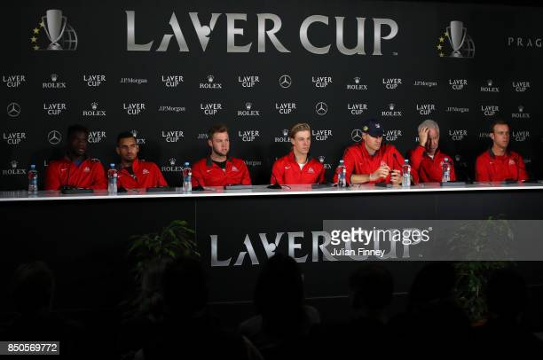 Frances Tiafoe Nick Kyrgios Jack Sock Denis Shapovalov John Isner John Mcenroe and Sam Querrey of Team World during a press conference ahead of the...