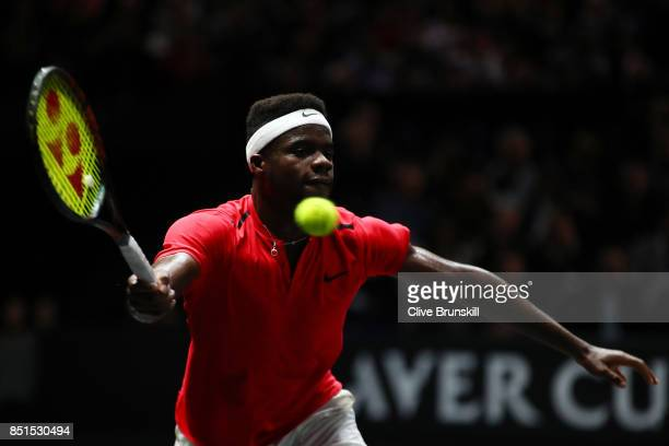 Frances Tiafoe of Team World plays a forehand during his singles match against Marin Cilic of Team Europe on the first day of the Laver Cup on...