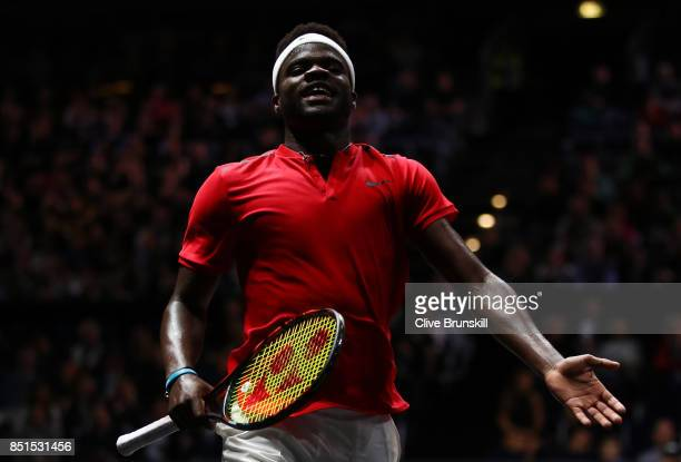 Frances Tiafoe of Team World reacts during his singles match against Marin Cilic of Team Europe on the first day of the Laver Cup on September 22...