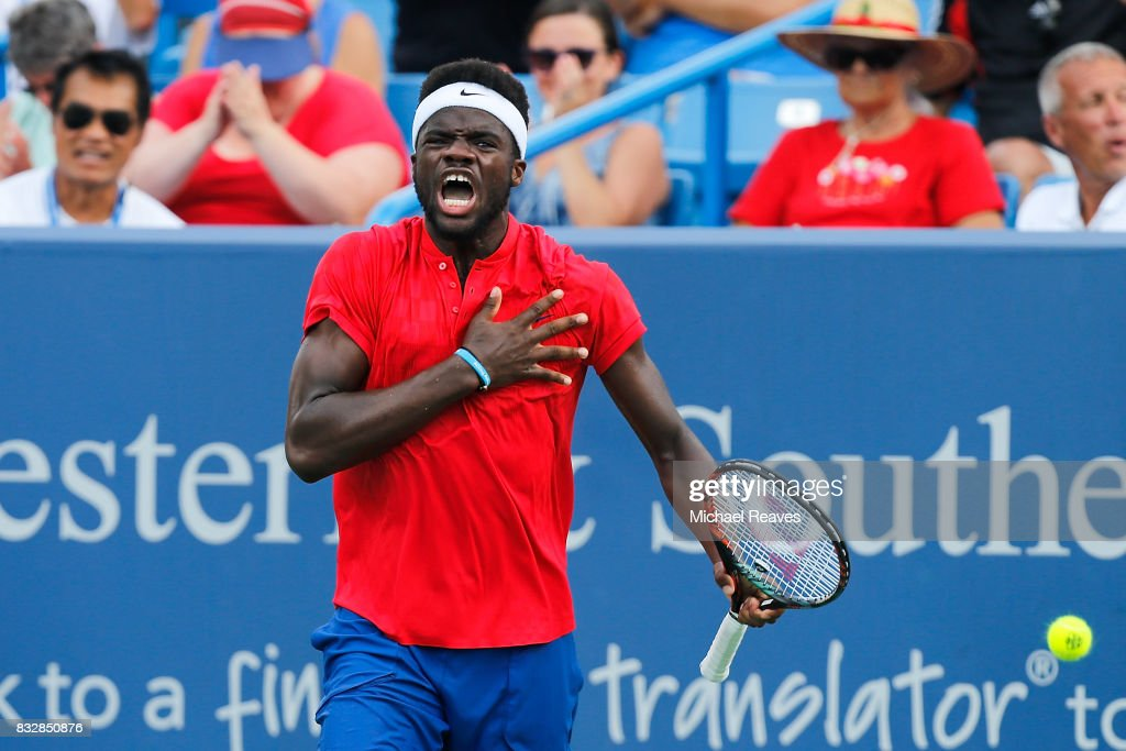 Frances Tiafoe of the United States celebrates after defeating Alexander Zverev of Germany during Day 5 of the Western and Southern Open at the Lindner Family Tennis Center on August 16, 2017 in Mason, Ohio.