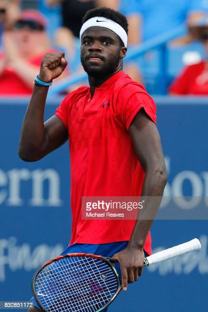 Frances Tiafoe of the United States reacts against Alexander Zverev of Germany during Day 5 of the Western and Southern Open at the Lindner Family...