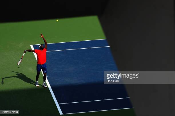 Frances Tiafoe serves to Alexander Zverev of Germany during Day 5 of the Western Southern Open at the Linder Family Tennis Center on August 16 2017...