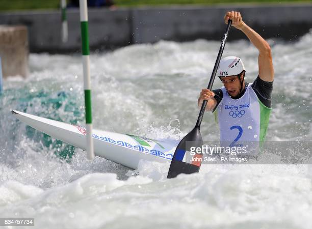 France's Tony Estanguet competes in the Canoe Single Men's Semifinal at the Shunyi RowingCanoeing Park in Beijing China during the 2008 Beijing...