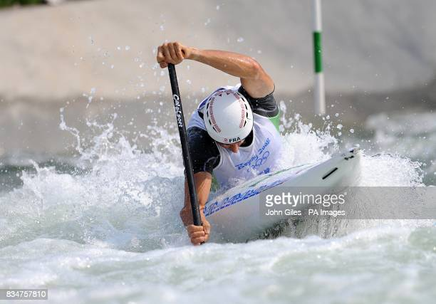 France's Tony Estanguet competes in the canoe single men's semifinal at the RowingCanoeing Park in Beijing during the 2008 Beijing Olympic Games