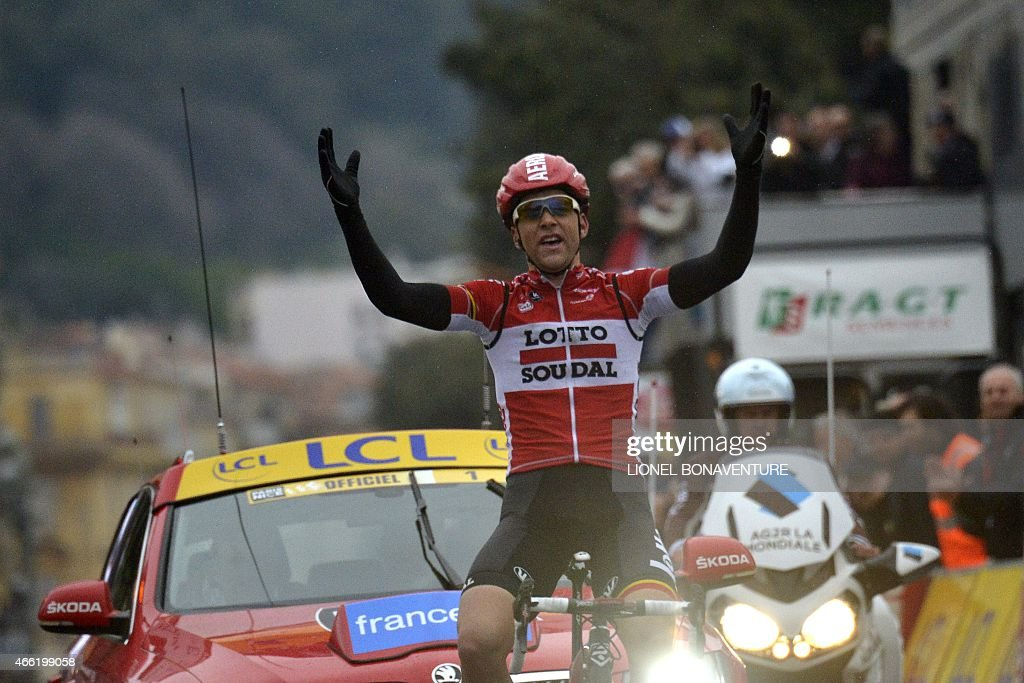France's <a gi-track='captionPersonalityLinkClicked' href=/galleries/search?phrase=Tony+Gallopin&family=editorial&specificpeople=6712360 ng-click='$event.stopPropagation()'>Tony Gallopin</a> celebrates as he crosses the finish line at the end of the sixth stage of the 73rd edition of the Paris-Nice cycling race, between Vence and Nice, southeastern France, on March 14, 2015.