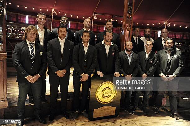 France's Top 14 rugby captains Racing Metro's Dimitri Szarzewski Clermont's Damien Chouly Castre's Remi Tales Toulon's Carly Hayman Bayonne David...