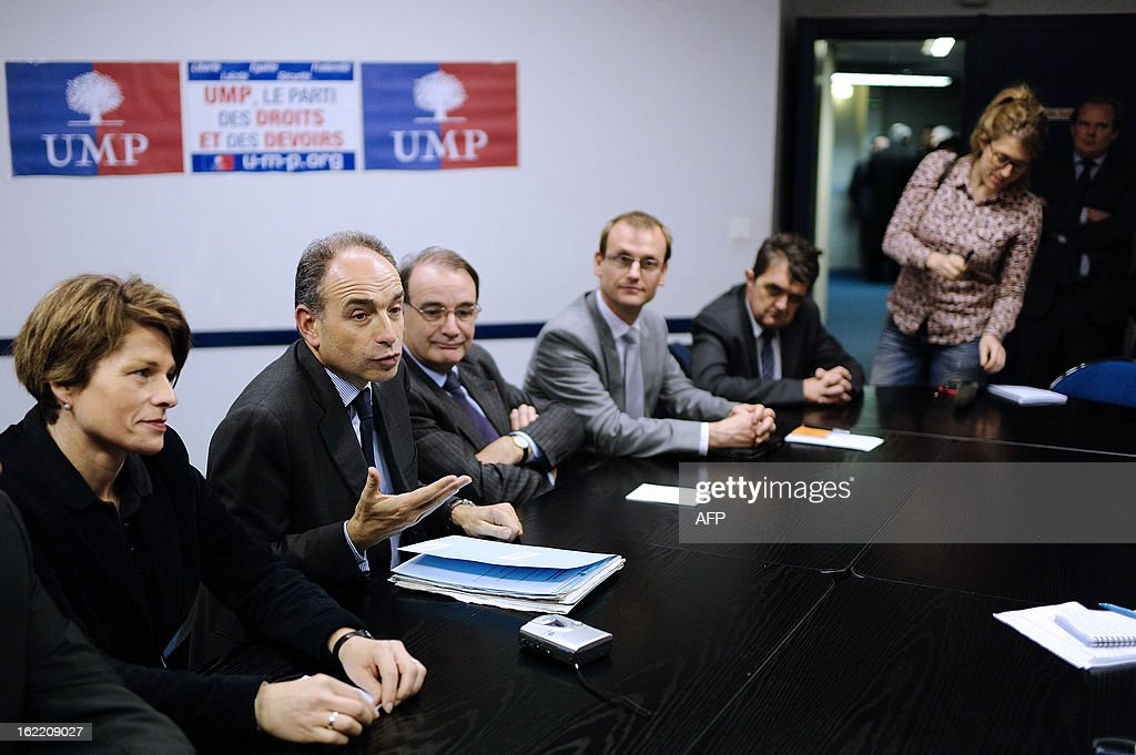 France's UMP right-wing opposition party leader Jean-Francois Cope speaks during a press conference on February 20, 2013 before a political meeting in Rennes.