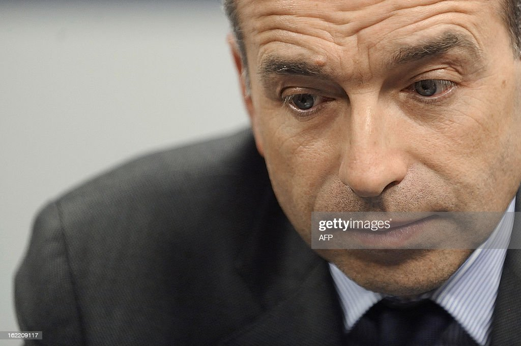 France's UMP right-wing opposition party leader Jean-Francois Cope attends a press conference on February 20, 2013 before a political meeting in Rennes.