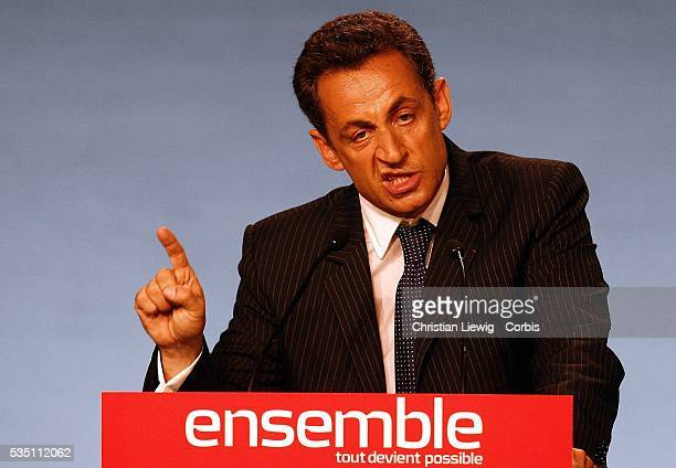 France's Union for a Popular Movement presidential candidate Nicolas Sarkozy speaks at a campaign rally in Montpellier in southeastern France