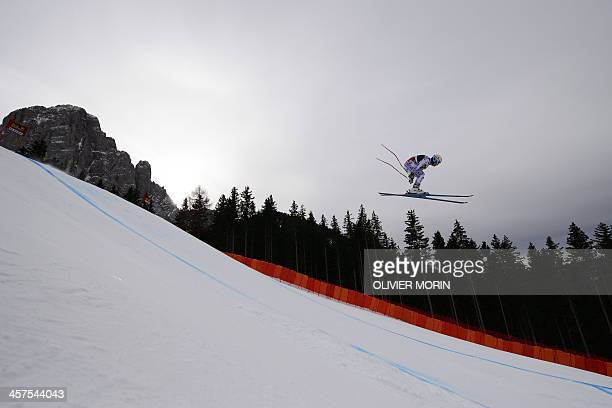 France's Valentin Giraud Moine competes during the FIS Alpine World Cup Men's Downhill training on December 18 2013 in Val Gardena AFP PHOTO /...