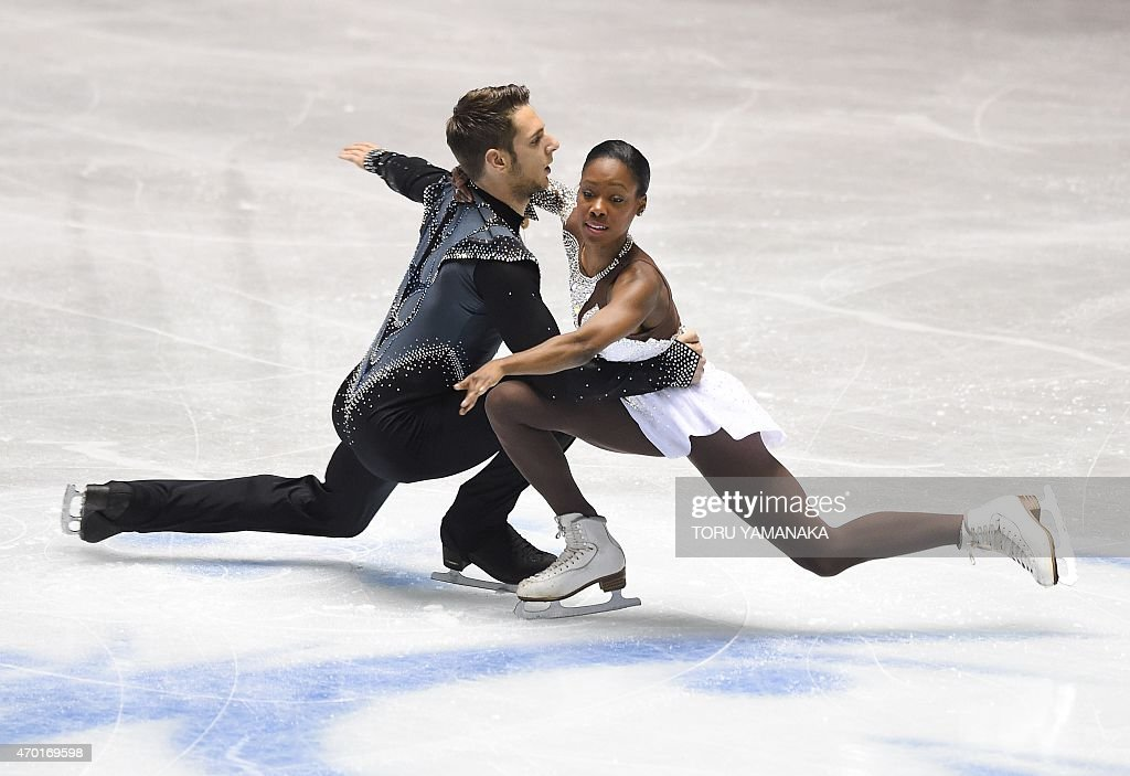 France's <a gi-track='captionPersonalityLinkClicked' href=/galleries/search?phrase=Vanessa+James&family=editorial&specificpeople=4113198 ng-click='$event.stopPropagation()'>Vanessa James</a> (R) and Morgan Cipres perform during the free skating in the pairs event at the ISU World Team Trophy figure skating competition in Tokyo on April 18, 2015. AFP PHOTO / Toru YAMANAKA