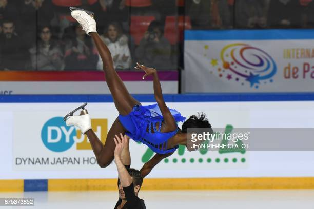 France's Vanessa James and Morgan Cipres perform during the Ice Pairs short program event of the Internationaux de France ISU Grand Prix of Figure...