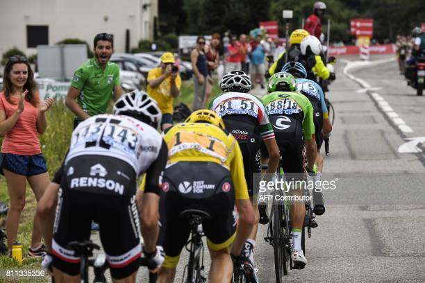 France's Warren Barguil Great Britain's Christopher Froome wearing the overall leader's yellow jersey Italy's Fabio Aru Colombia's Rigoberto Uran and...