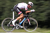 France's Warren Barguil rides during the 17 km individual timetrial the eighteenth stage of the 103rd edition of the Tour de France cycling race on...