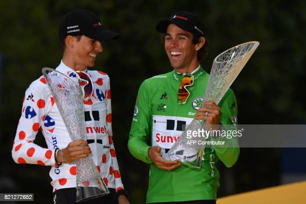 France's Warren Barguil wearing the best climber's polka dot jersey and his teammate Australia's Michael Matthews wearing the best sprinter's green...