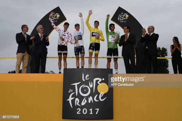France's Warren Barguil wearing the best climber's polka dot jersey Great Britain's Simon Yates wearing the best young's white jersey Tour de France...