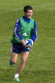 France's wing Brice Dulin takes part in a training session in Marcoussis south of Paris on October 29 2013 ahead of the November test matches against...