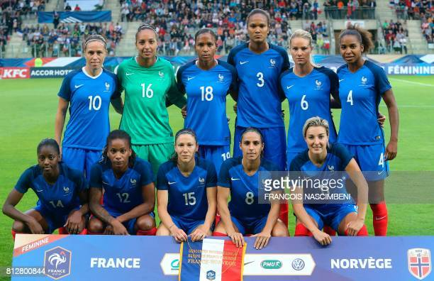 France's women football team players pose prior to the friendly football match between France and Norway on July 11 at the Louis Dugaugez Stadium in...