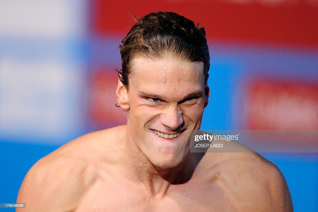 France's Yannick Agnel celebrates after winning the final of the men's 200-metre freestyle swimming event in the FINA World Championships at Palau Sant Jordi in Barcelona on July 30, 2013.