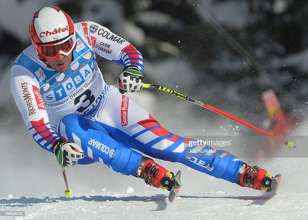 France's Yannick Bertrand skis during the downhill practice for the Alpine Skiing World Cup in Lake Louise, Canada on November 22, 2012.