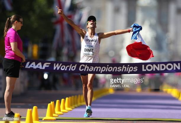 France's Yohann Diniz wins the men's 50km race walk athletics event at the 2017 IAAF World Championships on The Mall in central London on August 13...