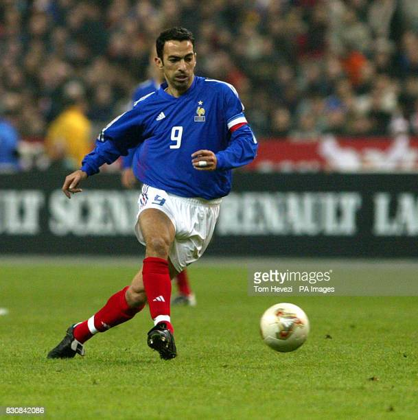 France's Youri Djorkaeff in action during the international friendly match against Scotland at the Stade De France